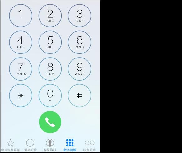 「電話」數字鍵盤,沿著 iPhone 螢幕底部的標籤頁列顯示選項。 由左至右的標籤頁依序為: 「常用聯絡資訊」、「通話記錄」、「聯絡資訊」、「數字鍵盤」和「語音信箱」。 「通話記錄」標籤頁有標記可指示未接來電的數目。