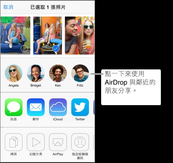 「共享」螢幕,照片沿著最上方顯示,使用 AirDrop 的周遭朋友,以及共享選項。 其他動作會顯示在底部。