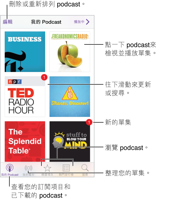 點一下「我的 Podcast」來查看您的訂閱和下載的 podcast。 點一下 podcast 來列出和播放單集。 點一下更新按鈕來檢查是否有新的單集。 點一下螢幕底部的「精選項目」和「排行榜」來瀏覽新的 podcast。
