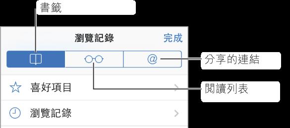 點一下「書籤」按鈕來查看書籤和瀏覽記錄、您的閱讀列表,以及您關注之人員推文中的連結。