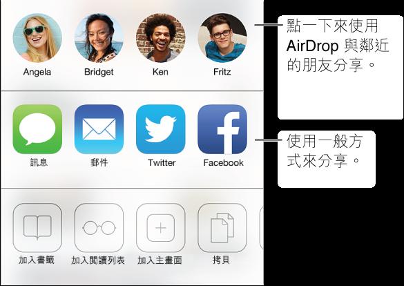 點一下「分享」按鈕來分享您找到的內容,可使用 的選項包含 AirDrop、「訊息」、「郵件」、Twitter 或 Facebook,或者是將其加入書籤、閱讀列表項目或「主畫面」螢幕快速鍵。 您也可以使用「分享」按鈕來拷貝或列印網頁。