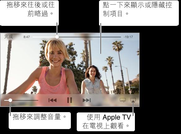 若要使用播放控制項目,在觀看影片時點一下螢幕。 中間最上方為軌道位置滑桿,您可拖移播放磁頭來快轉或倒轉。 經過時間和剩餘時間位於軌道位置滑桿的兩側。 如果影片沒有符合螢幕大小,全螢幕按鈕會顯示在右上角。 影片播放控制項目會顯示在中間底部。
