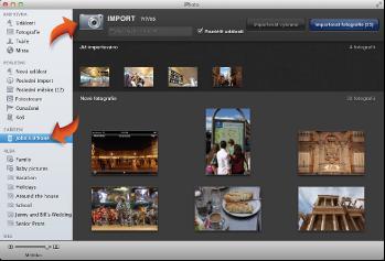 Obrázek zobrazení pro import spřipojeným fotoaparátem