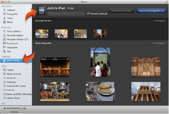 Obrázek zobrazení pro import spřipojeným iPadem