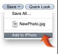 Obrázek položky Přidat do iPhota vmístní nabídce Uložit