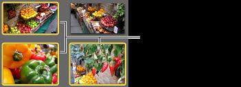 Obrázek vybraných fotografií se žlutým ohraničením