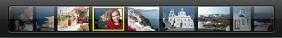 Obrázek pruhu náhledů v zobrazení na celou obrazovku