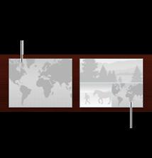 Obrázek dvou uspořádání stránek s mapou. Jedna stránka pouze s mapou, druhá s mapou i fotografiemi