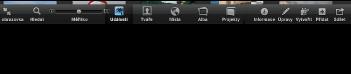 Obrázek panelu nástrojů v zobrazení celé obrazovky s tlačítky Události, Tváře, Místa, Alba a Projekty
