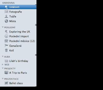 Snímek obrazovky seznamu zdrojů vlevo v okně iPhoto