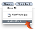 Image of the Add to Photo item in the Save pop-up menu