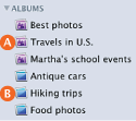 Image of icons for standard and Smart albums in Source list