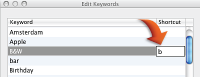 Image of shortcuts for keywords