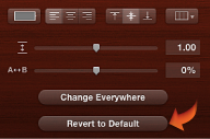 Image of the the Revert to Default button