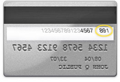 Image of the three-digit security code on the back of the credit card