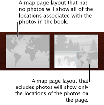 Image of two map page layouts, one that contains a map, another that contains a map and photos