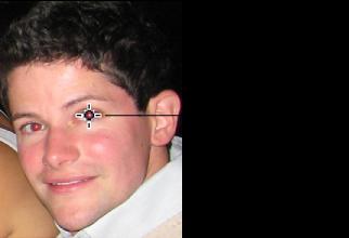 Изображение инструмента «Красные глаза», наведенного на красный зрачок