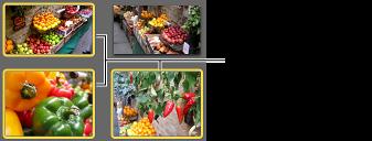 Изображение выделенных фотографий с желтыми рамками