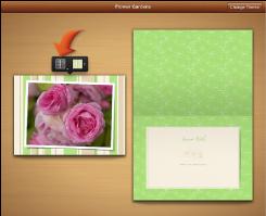 Изображение кнопок выбора макета и фона, которые появляются при выборе страницы открытки