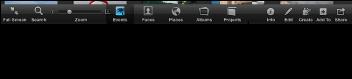Изображение панели инструментов в полноэкранном режиме; кнопки «События», «Лица», «Места», «Альбомы» и «Проекты»