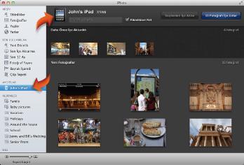iPad bağlıyken içe aktarma görüntüsünün resmi