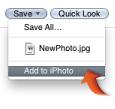 Kaydet açılır menüsündeki iPhoto'ya Ekle öğesinin görüntüsü