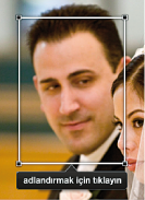 Yüzler konumlandırma kutusunun görüntüsü