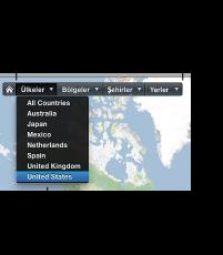 Yerler için kategori düğmelerinin ve açılır menülerinin görüntüsü
