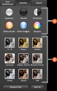 Efektler bölümünün ekran görüntüsü