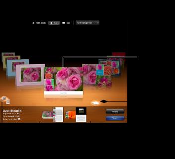 Kart temalarını ve diğer seçenekleri gösteren pencere görüntüsü