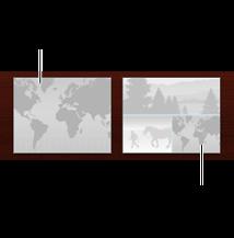 Birisi tek bir harita, diğeri de bir harita ve fotoğraflar içeren iki farklı harita sayfası yerleşiminin görüntüsü