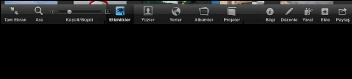 Tam ekran görüntüsünde; Etkinlikler, Yüzler, Yerler, Albümler ve Projeler düğmelerini gösteren araç çubuğunun görüntüsü