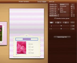 Tasarım bölümünde beliren metin biçimleme araçlarının görüntüsü