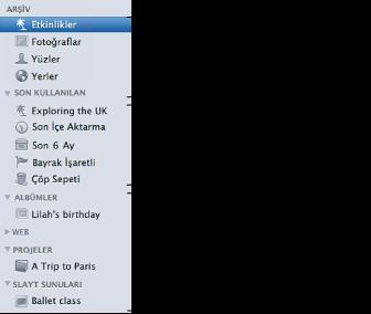 iPhoto penceresinin sol tarafındaki Kaynak listesinin ekran resmi