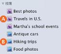 来源列表中标准相簿和智能相簿图标的图像