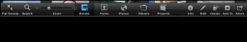 """全屏幕视图中显示""""事件""""、""""面孔""""、""""地点""""、""""相簿""""和""""项目""""按钮的工具栏的图像"""