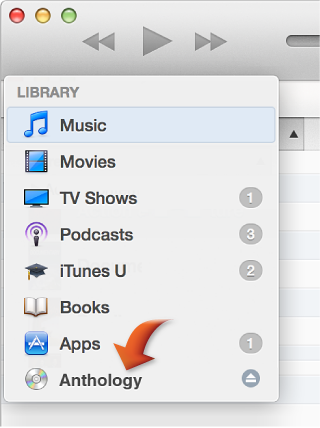 Library pop-up menu with arrow pointing to a CD