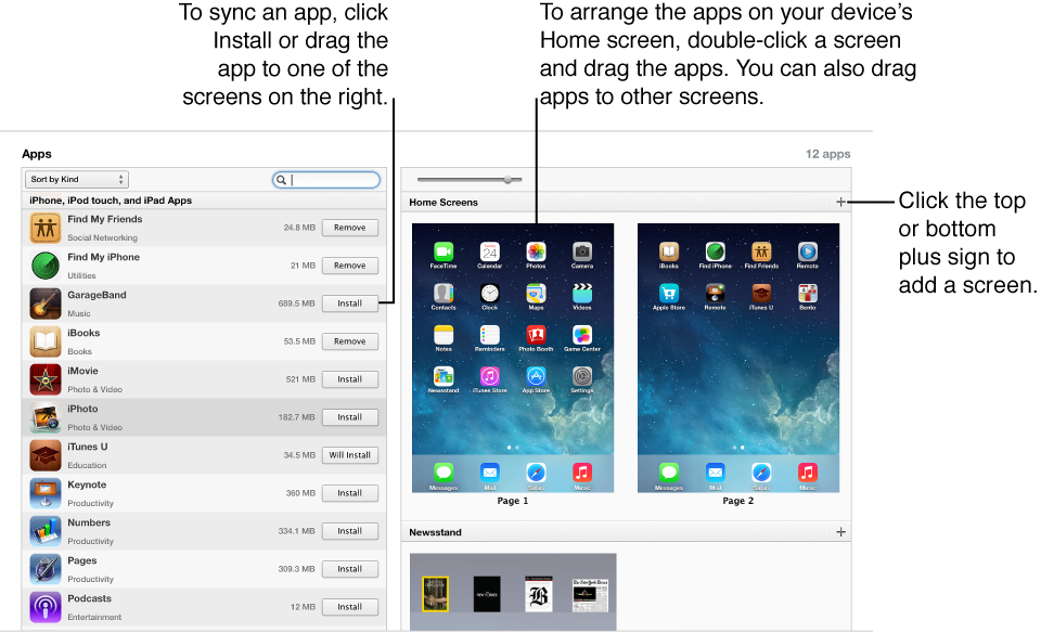Picture of interface for syncing apps in iTunes