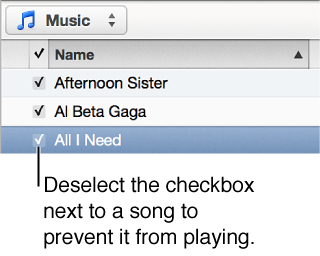 Detail of the Songs view in music, showing the checkboxes