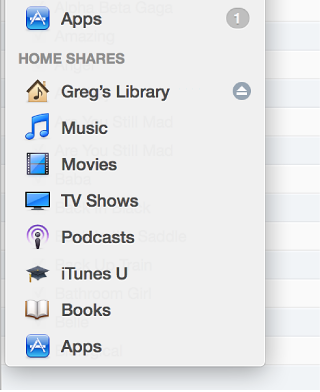 The Library pop-up menu with Home Sharing turned on
