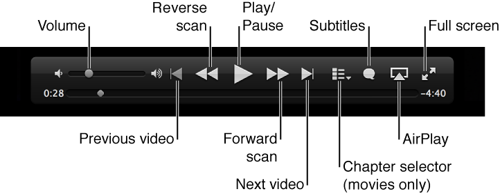 Video controls: Volume, Previous video, Reverse scan, Play/Pause, Forward scan, Next video, Chapter selector (for movies only), Subtitles, AirPlay, Full screen