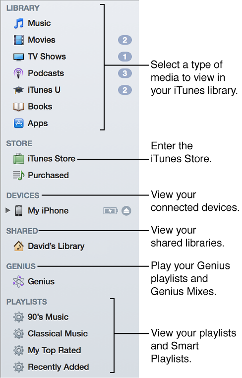 The iTunes Sidebar: View your library, enter the iTunes Store, view connected devices, view shared libraries, play your Genius playlists and Genius Mixes, view your playlists and Smart Playlists