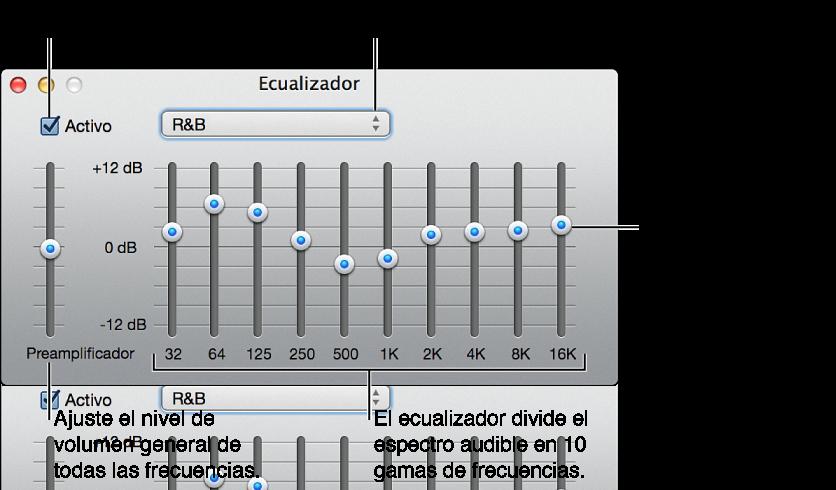 Haga clic en la opción Activo para activar el ecualizador de iTunes, seleccione un preajuste de ecualizador en el menú local, ajuste el volumen general de las frecuencias con el preamplificador, mueva los reguladores para ajustar el nivel de sonido de las diferentes gamas de frecuencia