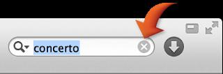 El campo de búsqueda con texto escrito y una flecha que apunta al icono de eliminar