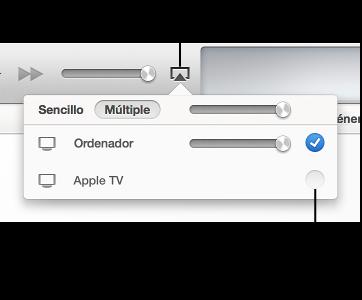Flecha apuntando hacia Música en el lado izquierdo de la ventana de iTunes