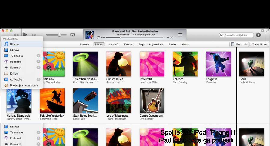 Prikaz iTunes prozora: Vaša iTunes medijateka sadrži sve vaše digitalne medije; Spojite vaš iPod, iPhone ili iPad kako biste ga podesili; iTunes Store je mjesto na kojem možete preuzeti novu glazbu, filmove, TV emisije, audio knjige i ostale sadržaje