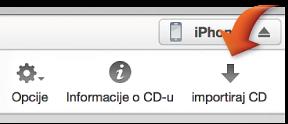 Tipka za importiranje CD diska