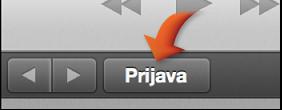 Tipka Prijava na iTunes Store navigacijskoj traci