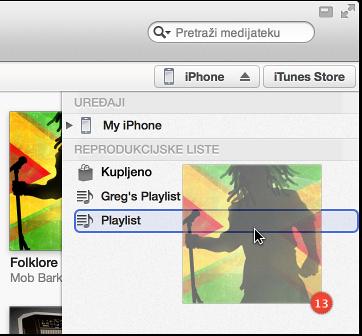 Slika albuma koji se povlači na reprodukcijsku listu, reprodukcijska lista je istaknuta bojom