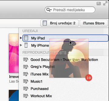 Slika albuma koji se povlači na uređaj, uređaj je istaknut bojom